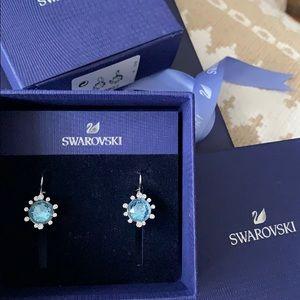 Swarovski aqua blue crystal earnings (unused)